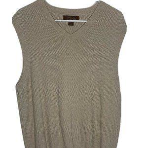 Tasso Elba Knitted Sweater Vest Tan Khaki V-Neck